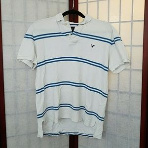 American Eagle blue and white polo. Size M.